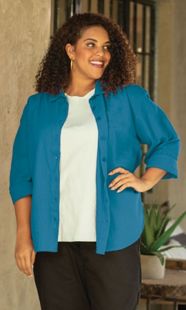 3/4 Sleeve Crinkle Cotton Plus Size Solid Button Up Shirt 2X-8X