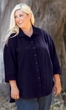 100% Crinkle Cotton 3/4 Sleeve Solid Button Up Oversize Shirt
