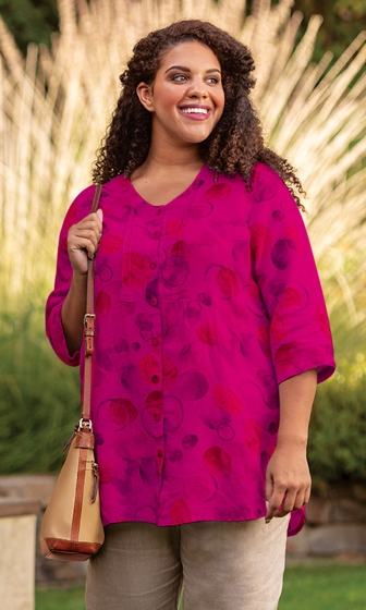 Sale Simone Linen Pleat 3/4 Sleeve Blouse