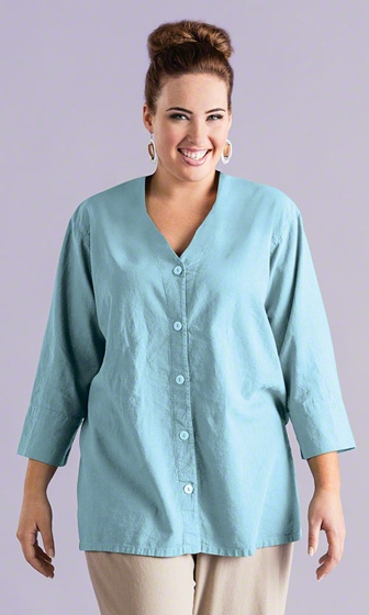 Sale Linen Solid Short Sleeve Button Up Blouse
