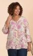 Print Linen Rayon 3/4 Sleeve Monet Blouse