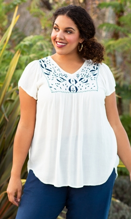 Solid Short Sleeve V-Neck Karla Embroidered Blouse