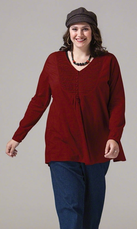 Kyra Solid Long Sleeve Plus Size Blouse 2X-8X