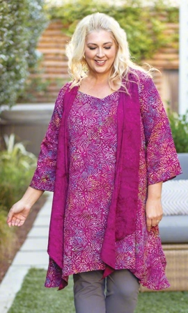 Shirley Batik Long Sleeve Plus Size Tunic 2X-8X