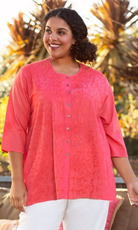 100% Cotton Round Neck 3/4 Sleeve Lisha Blouse
