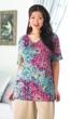 Floral Rayon Short Sleeve V-Neck Swing Monet Tunic