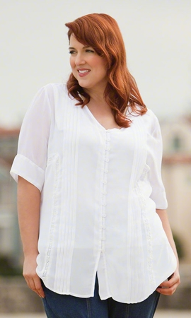 Danika Pleat Solid Short Sleeve Button Up Plus Size Blouse 2X-8X