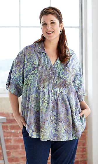 Hand Batik Pleated 100% Cotton Button Up Short Sleeve Josie Blouse