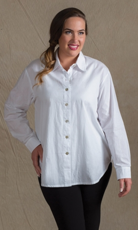 Boyfriend Solid Long Sleeve Button Up Shirt