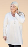 Jersey Long Sleeve V Neck Solid Cotton Knit Tunic