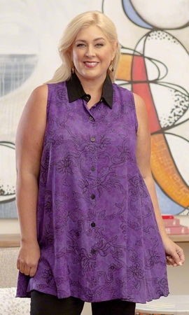 Kalina Batik Sleeveless Plus Size Tunic 2X-8X