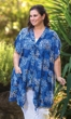 Catarina Blue Batik Short Sleeve Tunic