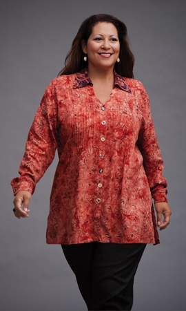 Hailey Pleat Long Sleeve Batik Plus Size Blouse 1X-8X