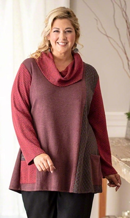 Paris Cowl Long Sleeve Plus Size Tunic 2X-8X