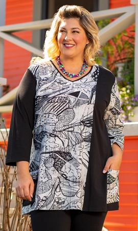 Print 3/4 Sleeve V-Neck Helen Tunic