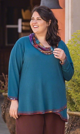 Freda Cowl Long Sleeve Plus Size Tunic 2X-8X