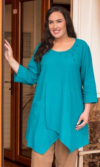 Plus Size Solid 100% Cotton 3/4 Sleeve Hattie Detail Tunic