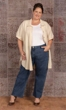 100% Crinkle Cotton Short Sleeve Button Up Kendall Tunic