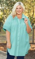 Short Sleeve Kendall Solid Crinkle Cotton Tunic