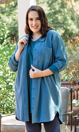 Heavy Weight Kendall Solid Long Sleeve Crinkle Cotton Plus Size Tunic 2X-8X