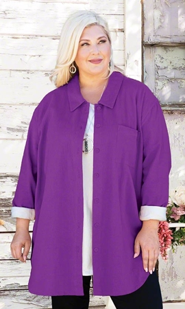 Sale Heavy Weight Kendall Solid Long Sleeve Crinkle Cotton Plus Size Tunic 2X-8X