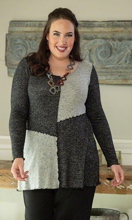 Carol Patchwork Solid Long Sleeve Plus Size Tunic 2X-8X