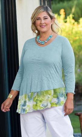 Crepe Patchwork 3/4 Sleeve Round Neck Kristi Tunic