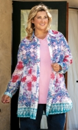 Ada Rodie Long Sleeve Floral Button Up Tunic