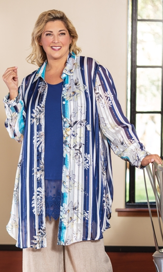 Idabel Rodie Long Sleeve Navy Button Up Tunic