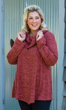 Brushed Hacci Cowl Solid Long Sleeve Tunic