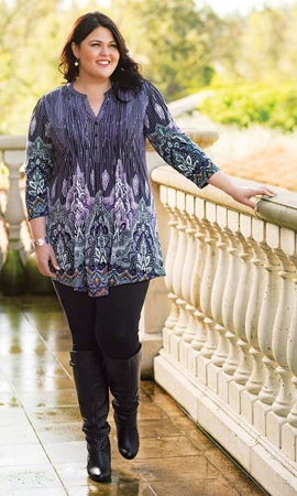 Emma Long Sleeve Plus Size Tunic 1X-8X
