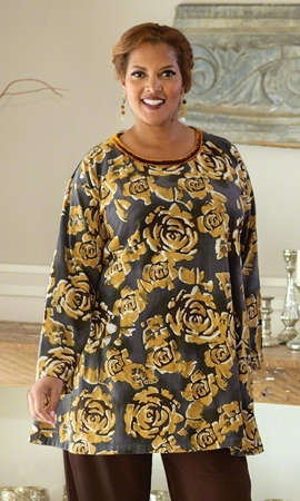 Imani Velvet Trim Long Sleeve Hand Painted Plus Size Tunic 2X-8X