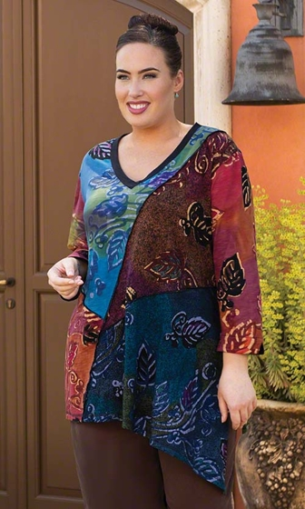 Print 100% Cotton 3/4 Sleeve V-Neck Lora Patchwork Tunic