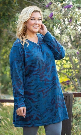 Guinevere One Button Long Sleeve Cotton Knit Plus Size Tunic 2X-8X