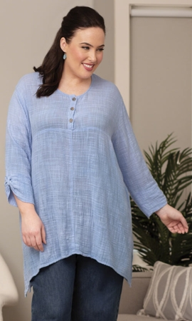 Everly Henley Solid Long Sleeve Cotton Rayon Plus Size Top 3X-8X