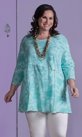 Print 100% Cotton 3/4 Sleeve Amaranta Seam Detail Tunic