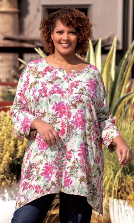 Sale Print Linen Rayon 3/4 Sleeve Monet Henley Tunic