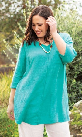 Everly One Pocket Solid Long Sleeve Cotton Rayon Plus Size Tunic 2X-8X