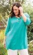 Everly One Pocket Solid Long Sleeve Cotton Rayon Tunic