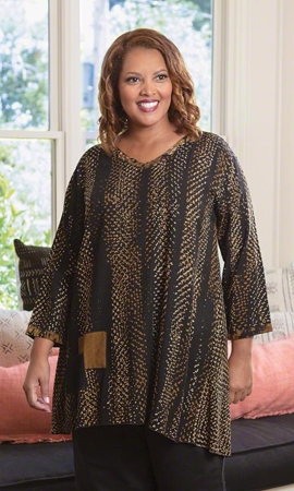 Lenore Batik Long Sleeve Plus Size Tunic 2X-8X