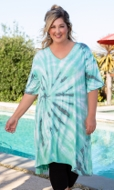 Tie-Dye Cotton Rayon Short Sleeve V-Neck Cara Tunic