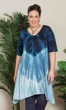 Sale Tie-Dye Cotton Rayon Short Sleeve V-Neck Cara Tunic
