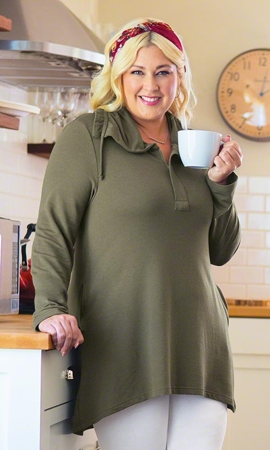 Bamboo Solid Long Sleeve Plus Size Tunic 1X-8X