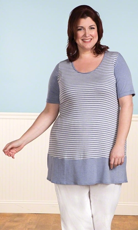 Short Sleeve Cotati Plus Size Striped Tunic 0X-8X