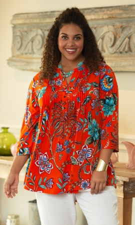 Sale Pleated 3/4 Sleeve Mandarin Collar Erin Tunic