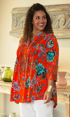 Pleated 3/4 Sleeve Mandarin Collar Erin Tunic