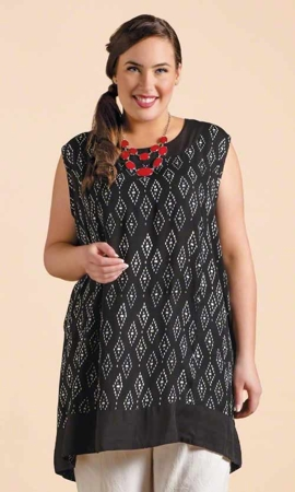 Sleeveless Ikat Plus Size Tunic 0X-8X
