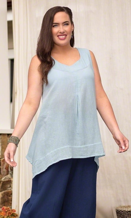 Sale Crinkle Cotton Fancy Solid Tank Top