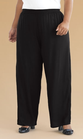 Wide Leg Rayon Solid Plus Size Pants 0X-8X