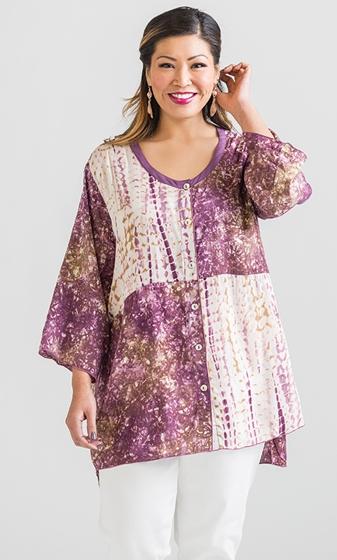Hand Batik Rayon 3/4 Sleeve Round Neck Jenner Tunic